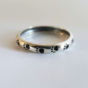 Sterling Silver Paw Print Eternity Band